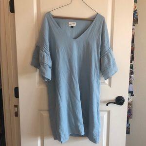 Light Blue Ruffled Sleeve Dress